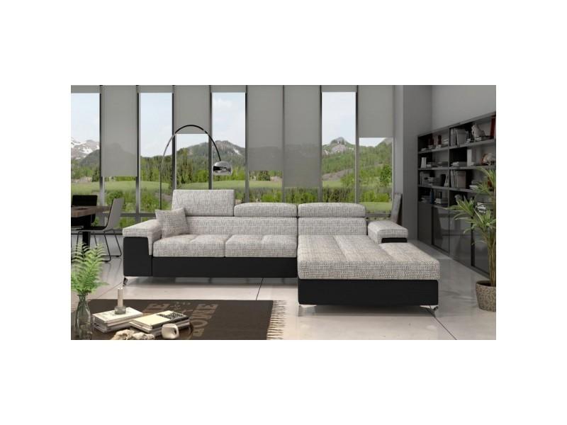 Canapé d'angle convertible design ricardo - angle droit - tissu gris clair / pu noir