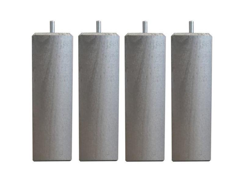 Pied De Lit Jeu De Pieds Carres L 6 Cm X L 6 Cm H 19 Cm Gris Metal Lot De 4 Vente De Sans Marque Conforama