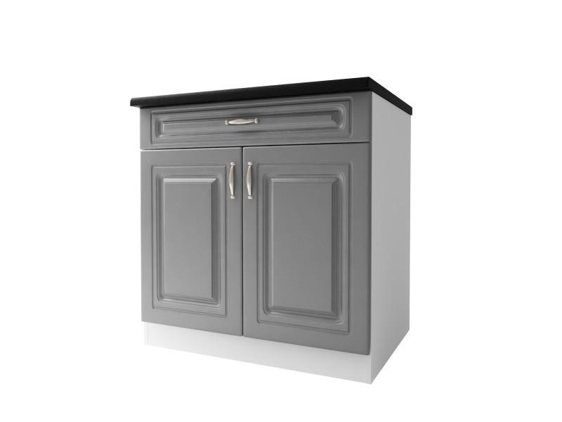 Meuble de cuisine bas 2 portes 1 tiroir 80 cm dina en mélaminé avec 1 tiroir et 1 étagère gris