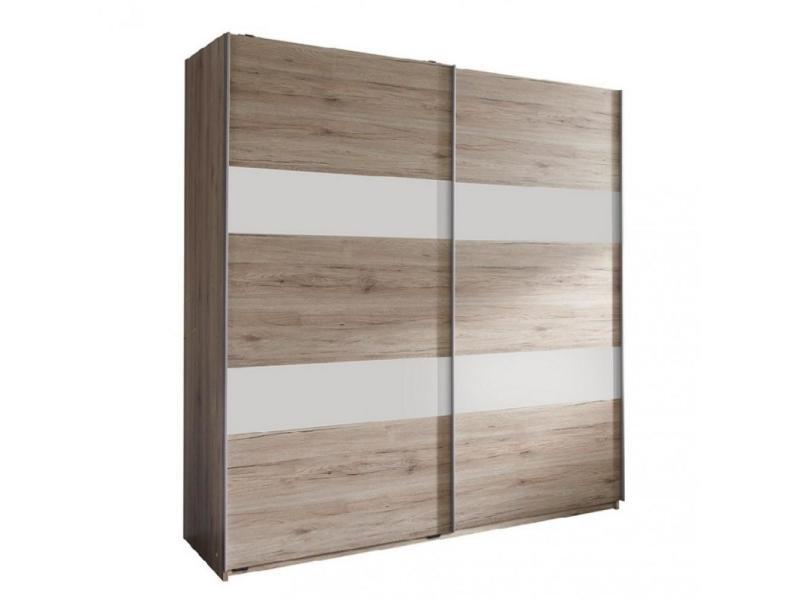 Armoire de rangement aude portes coulissantes 135 cm chêne rechampis blanc 20100890990