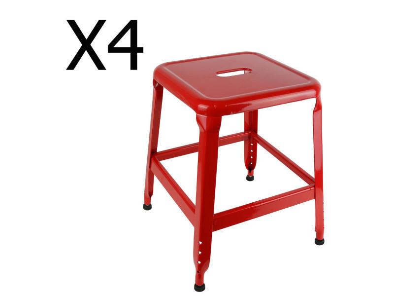 Lot de 4 tabourets en métal coloris rouge - dim : h 42.5 x l 37 x p 37 cm - pegane -