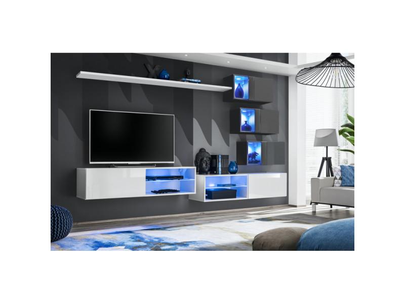 Ensemble meuble tv mural switch xxiv - l 260 x p 40 x h 170 cm - blanc et gris