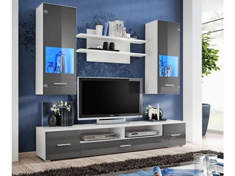 Meuble tv mural magnetic gris brillant et blanc mat 200cm