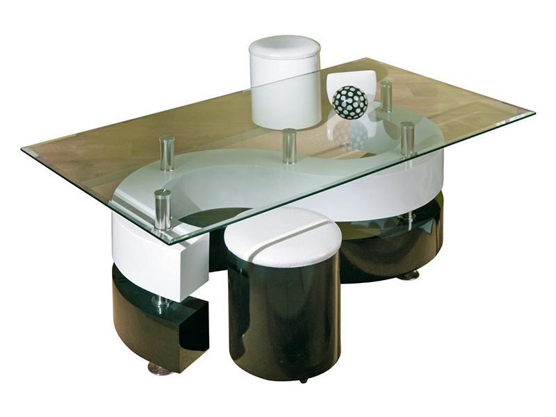 Table basse serena avec 2 poufs blanc/noir, dim : 70 x 130 x 46 cm -pegane-