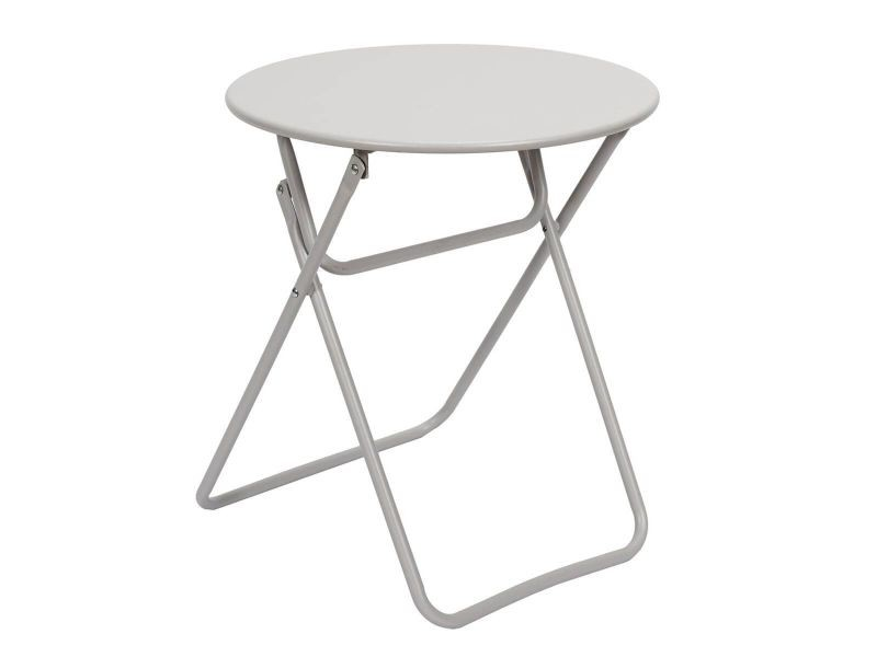 Malam - table d'appoint ronde pliante taupe