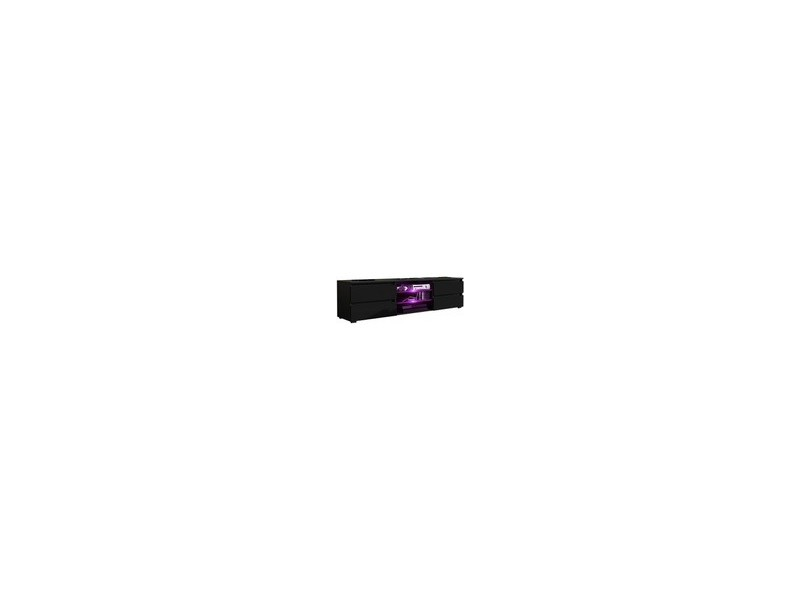 Meuble tv 150 cm noir mat + led rgb