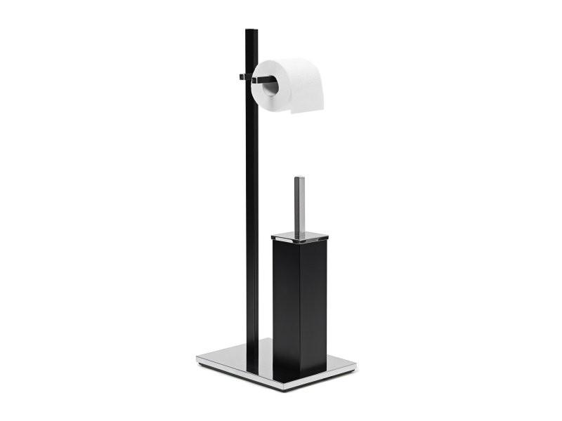 ensemble support brosse wc porte papier toilettes luxe inox noir helloshop26 3213035 vente de. Black Bedroom Furniture Sets. Home Design Ideas
