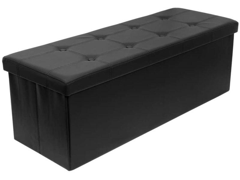 Pouf Coffre de Rangement Boîte Tabouret Pliable,Banc Cube Repose-Pied ,Noir - Intimate WM Heart