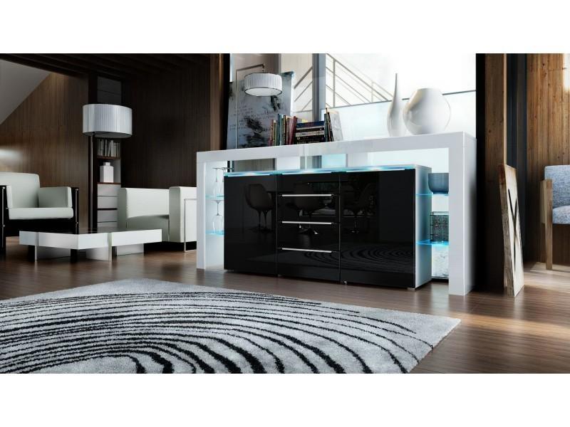 Buffet design blanc et noir 192 cm