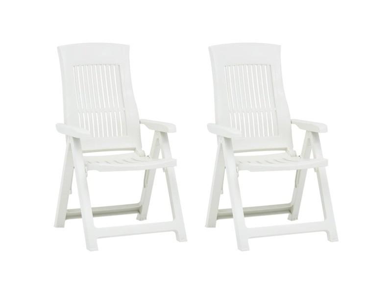 Vidaxl chaises inclinables de jardin 2 pcs plastique blanc 48763