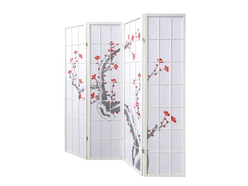 Paravent Bois Avec Fleur De Cerisier Blanc De 4 Pans Pegane