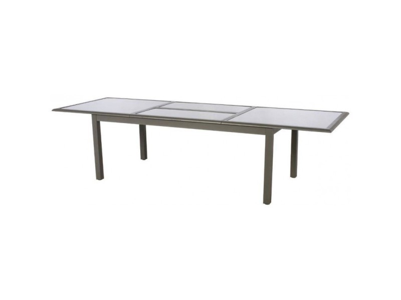 Table extensible rectangulaire azua 8/12 places taupe ...