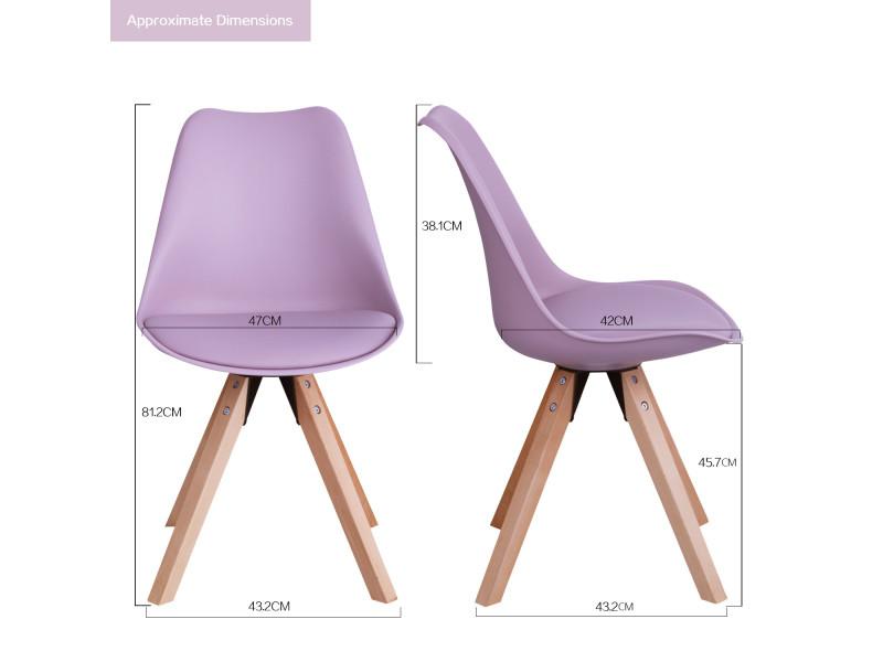 rose salle en lot de Chaise manger 2 avec à plastique violet 0wNnOX8Pk