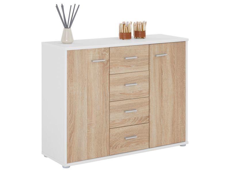 buffet elodie commode rangement tiroirs en m lamin blanc mat et d cor ch ne sonoma vente de. Black Bedroom Furniture Sets. Home Design Ideas