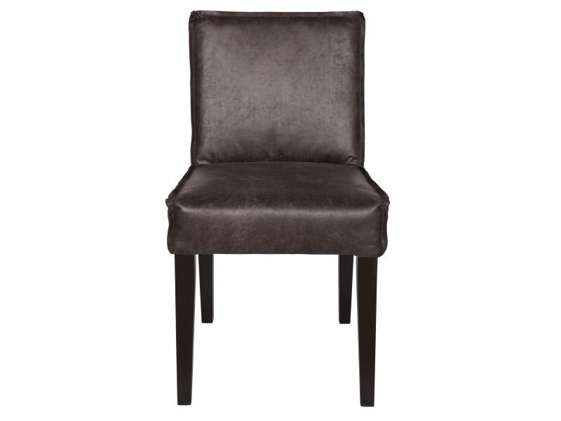 Chaise coloris cognac en noir, h 83 x l 45 x p 61 cm - pegane -