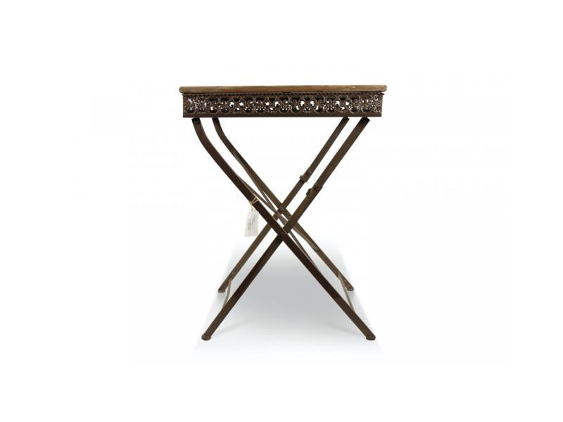 Table à manger bois fer forgé marron 61x61x81.5cm - décoration d'autrefois