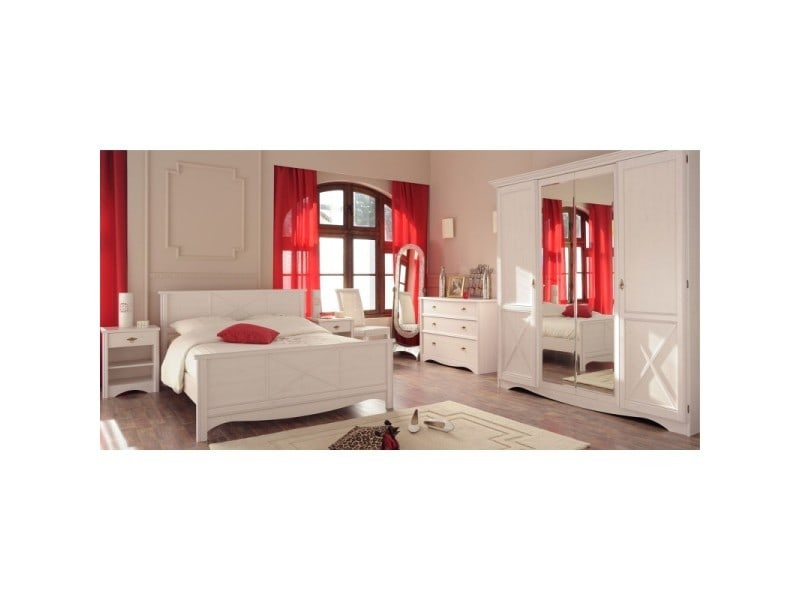 Chambre adulte compl te 140 190 pin blanc gentiane l for Chambre complete adulte solde