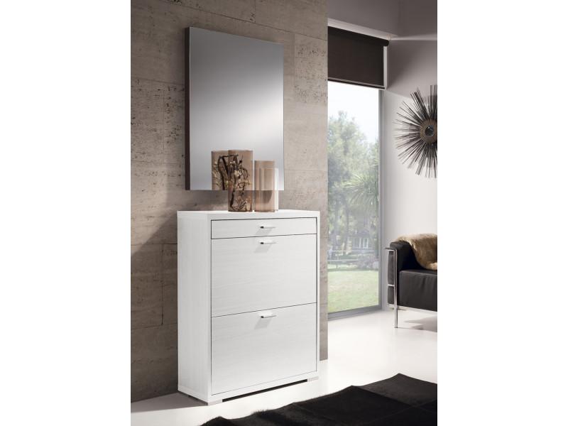 Commode à chaussures avec 2 portes et 1 tiroir, en bois coloris blanc - dim : h.89 x p70 x l24 cm -pegane-