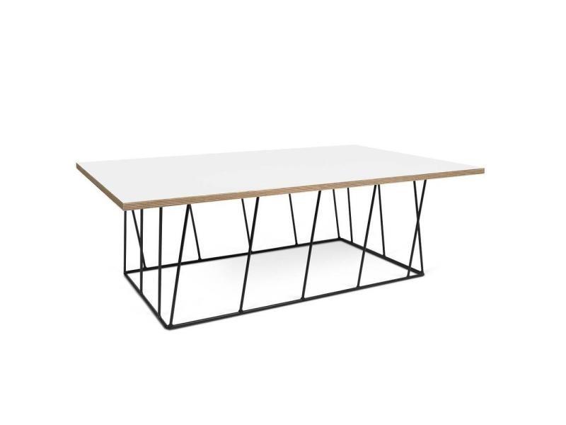Table basse helix 120 plateau blanc mat/bois structure laquée noire 20100868134
