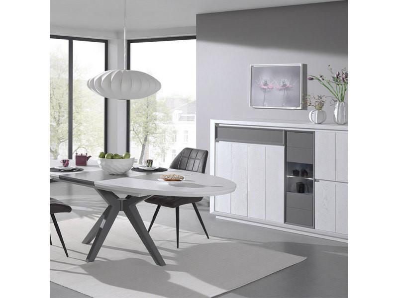 Salle à manger moderne couleur bois blanc et gris artic avec ...