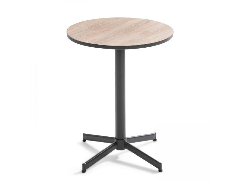 Table bistrot ronde plateau céramique effet bois, tivoli 2 places acier marron