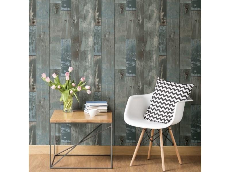 Dutch wallcoverings papier peint bois de rebut gris-bleu 430625