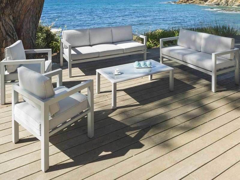 Salon de jardin 7 places azua silver mat - hespéride - Vente de ...