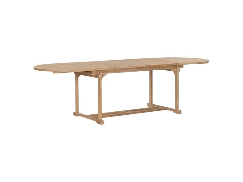 Sublime mobilier de jardin serie tachkent table extensible de jardin 180-280x100x75 cm teck solide ovale