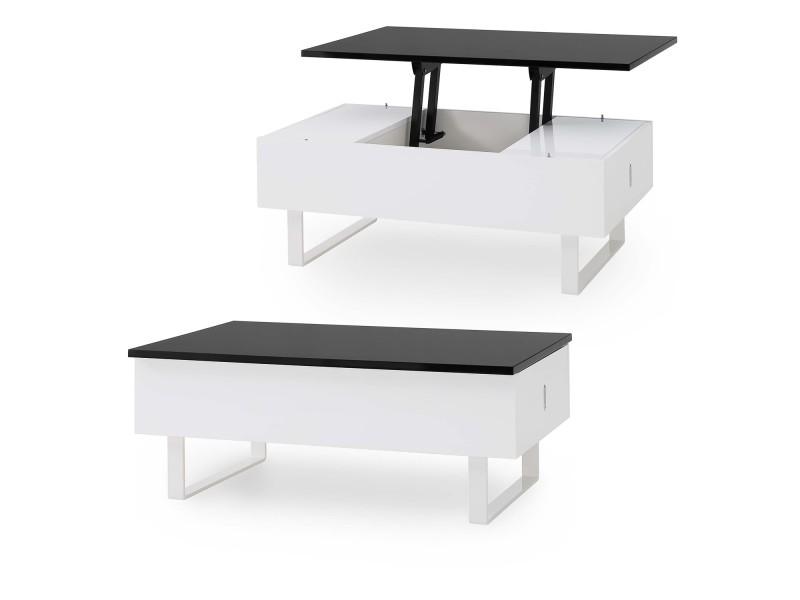 Mia - table basse laquée noir et blanc multifonction