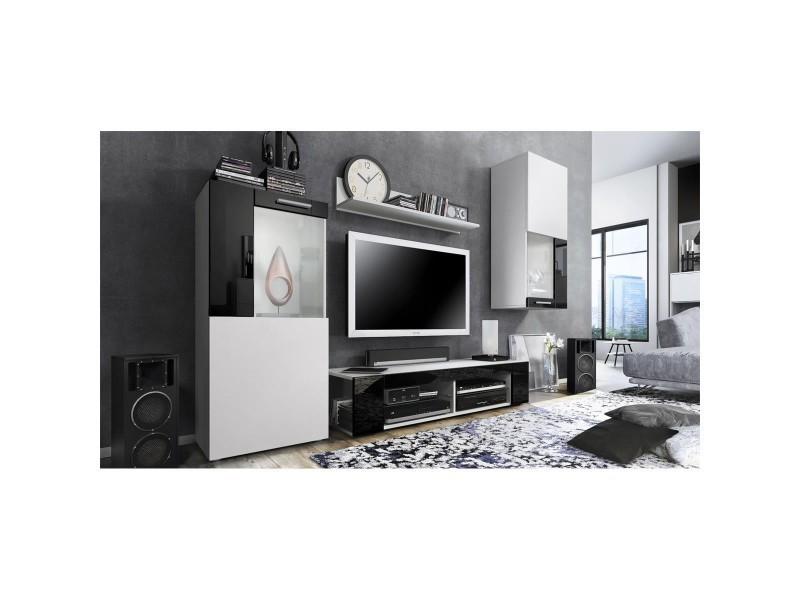 Ensemble de meubles de salon en blanc et noir led blanc