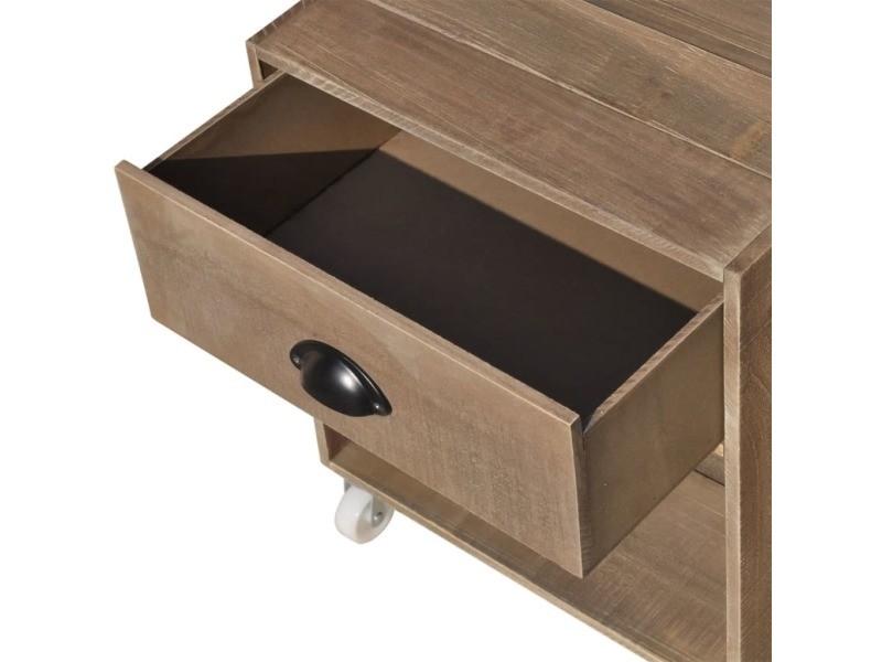 vidaxl table de chevet 2 pièces bois massif marron 243162