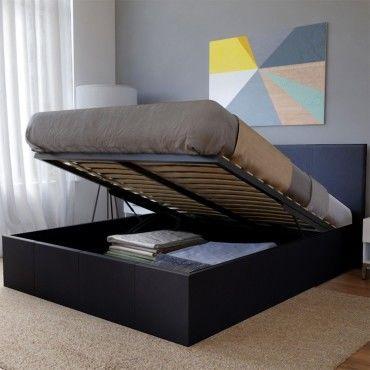 lit coffre barcelona 140x190 1 sommier noir 035316 vente de lit adulte conforama. Black Bedroom Furniture Sets. Home Design Ideas