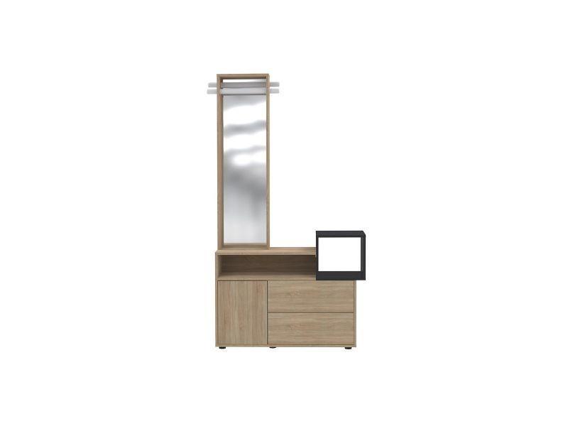Meuble d'entrée avec miroir et rangements koln