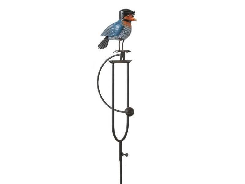 Mobile de jardin à balancier à planter ou tuteur pour plantes motif oiseau en fer patiné marron et multicolore 5x18x136cm