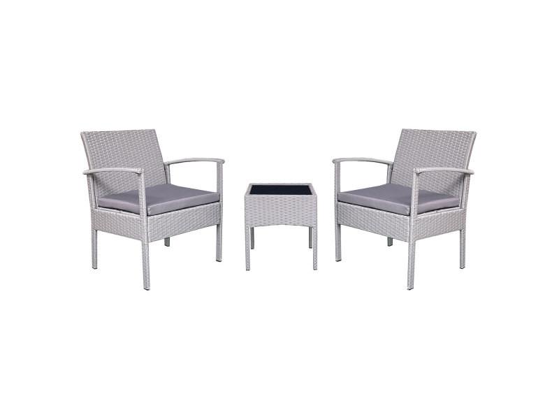 Salon de jardin minorque en résine tressée grise 2 places - coussins gris