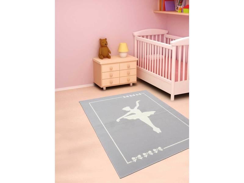 tapis pour chambre de fille af danseuse gris creme 80 x 150 cm