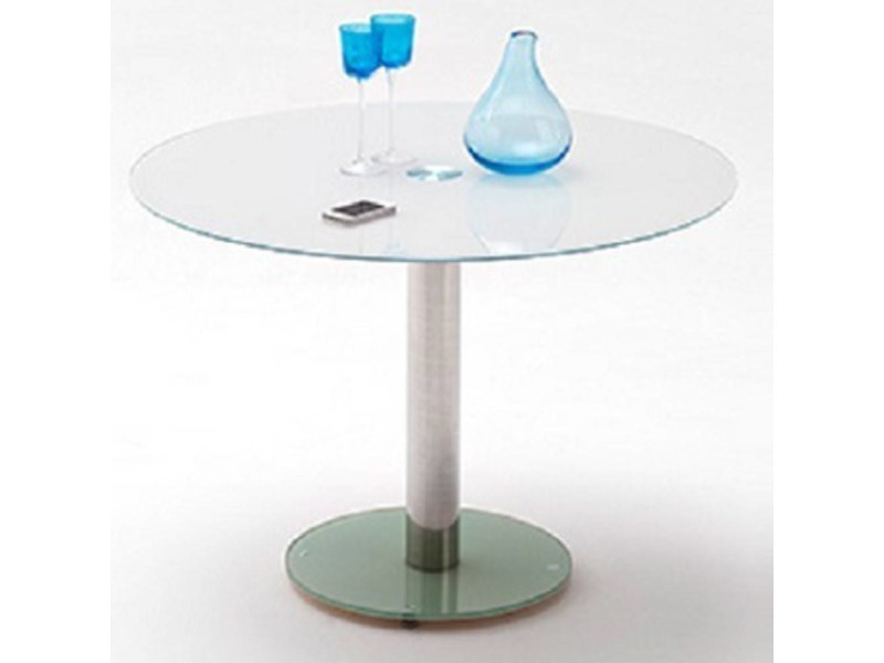 Table repas ronde design faten en verre blanc 20100872002