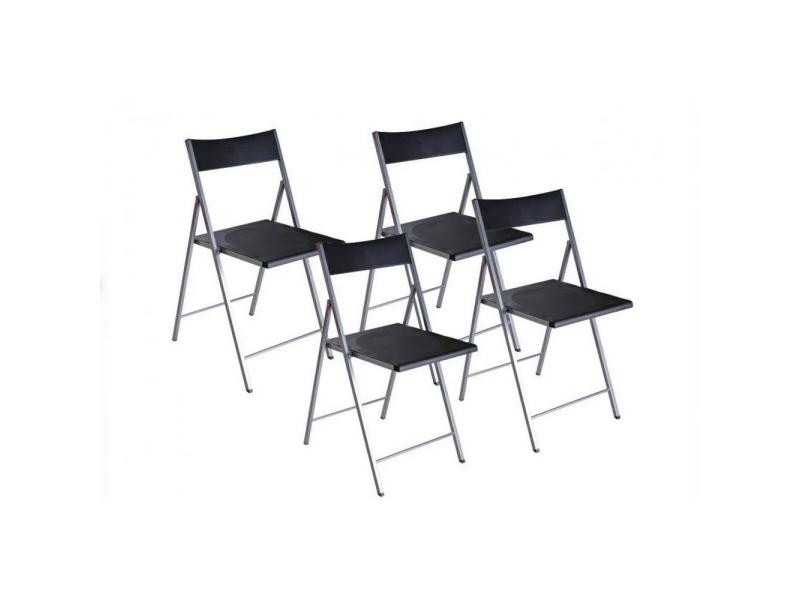 belfort lot de 4 chaises pliantes noir 20100835526 vente de chaise conforama. Black Bedroom Furniture Sets. Home Design Ideas