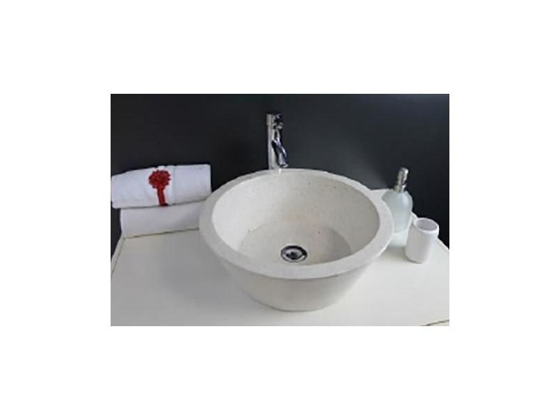 Aqua+ - vasque en terrazzo ø 44x15 cm crème - bloom crème