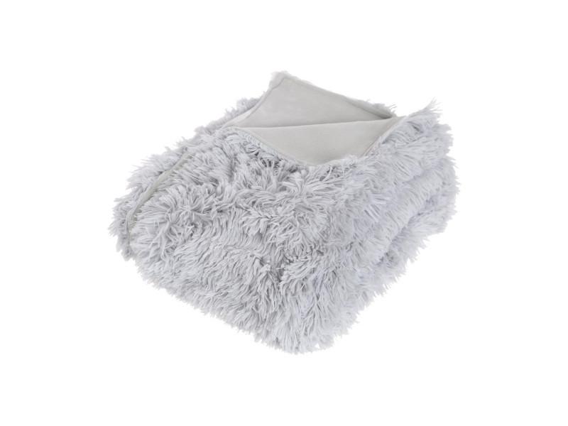 Atmosphera - plaid gris fourrure poils longs 120 x 160 cm
