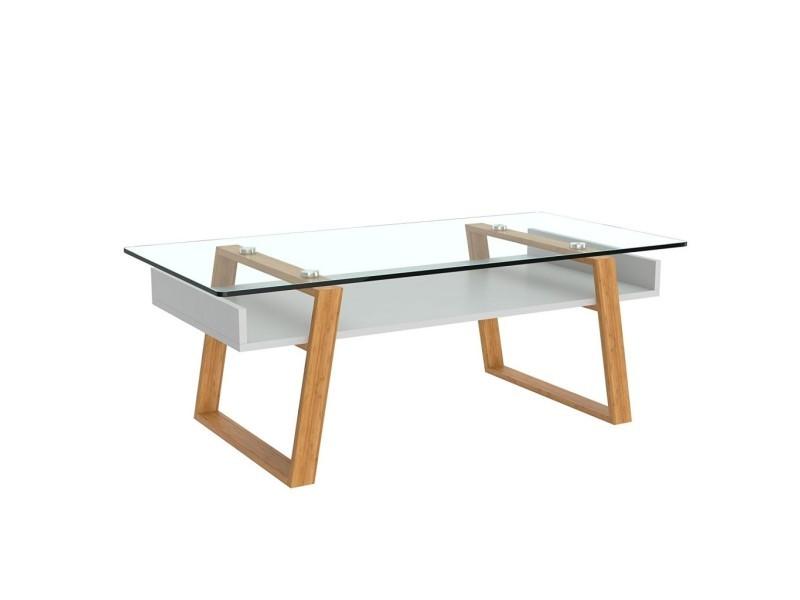 Table basse design moderne blanche avec cadre en bois naturel et dessus en verre