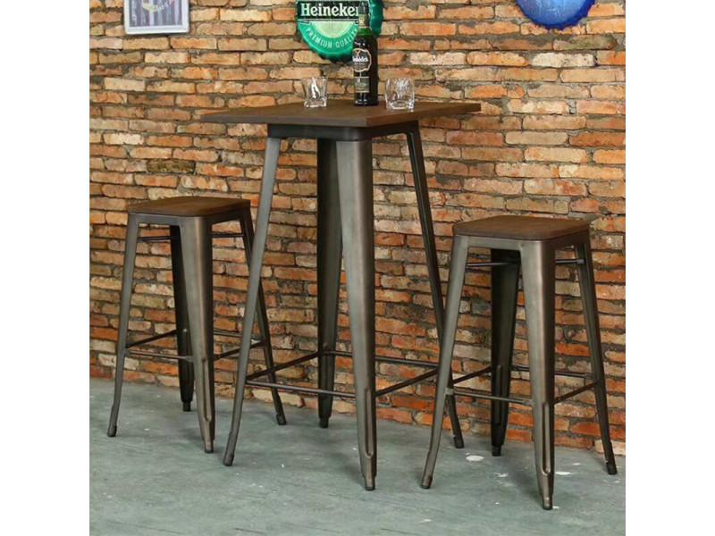 Hombuy® ensemble de table de bar marron et noir et 4 tabourets avec siège en bois style industriel pour bistrot, cuisine, jardin, restaurant