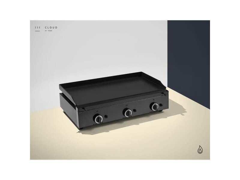 Plancha a gaz colorée - 3 brûleurs - plaque lisse 6 mm - 800 x 455 x 230 mm - pinha2 - anthracite acier émaillé