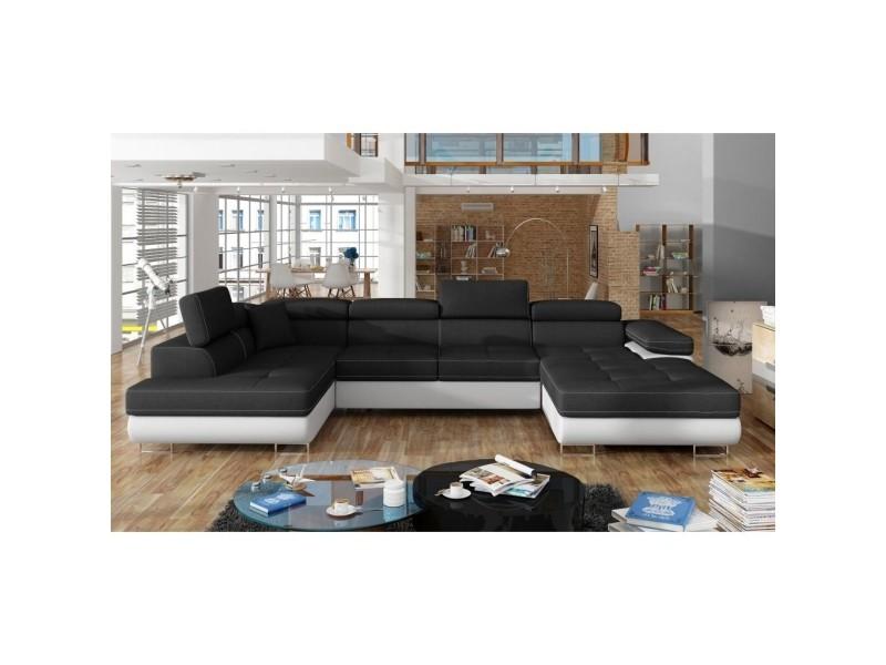 Canapé panoramique convertible coffre de rangement en tissu noir et simili blanc oregon – angle droit RODRIGO-NO-BL-2A2+M