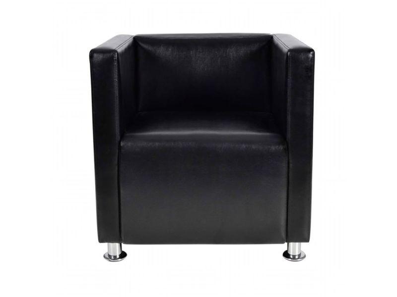 Icaverne - fauteuils club, fauteuils inclinables et chauffeuses lits ensemble fauteuil design de cube cuir synthétique noir