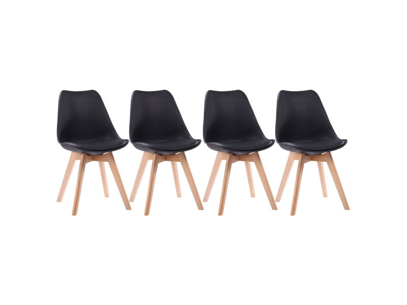 lot de 4 chaises scandinaves nora noires avec coussin vente de chaise conforama. Black Bedroom Furniture Sets. Home Design Ideas