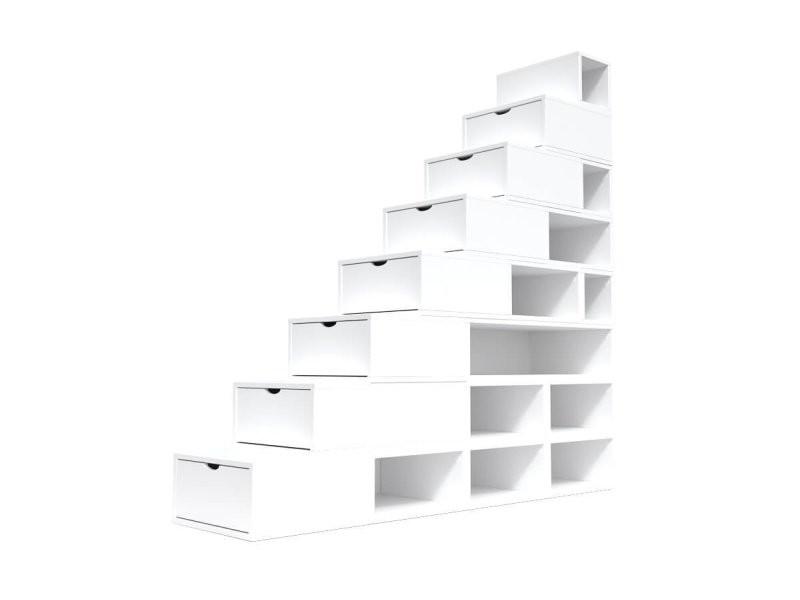 Escalier cube de rangement hauteur 200 cm blanc ESC200-LB