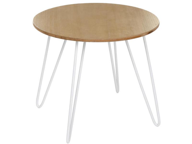 Table à café en métal et mdf, blanc - dim :l.48 x l.48 x h.40 cm -pegane