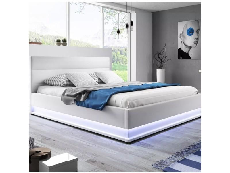 lit led avec coffre de rangement ava blanc 160x200 vente de lit adulte conforama. Black Bedroom Furniture Sets. Home Design Ideas