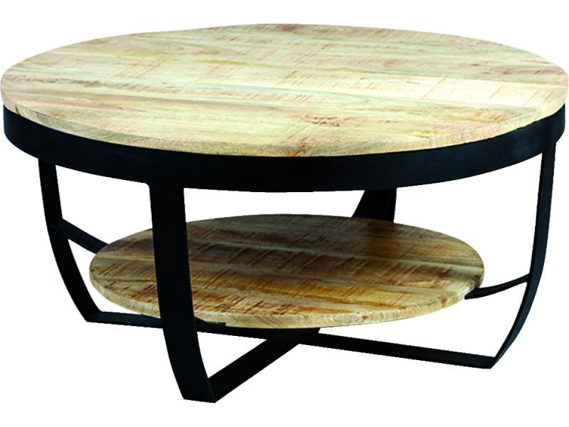 Table basse en palissandre massif et métal laqué noir - dim : ø80 x ht.40 cm -pegane-